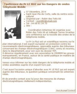 La Coordination Antennes 66 et Robin des Toits 66 organisent une conférence avec le Pr. Pierre Le Ruz du CRIIREM