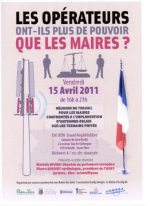 """""""LES OPÉRATEURS ONT-ILS PLUS DE POUVOIR QUE LES MAIRES ?"""" – Ecully – Rhône Alpes – 15/04/2011"""