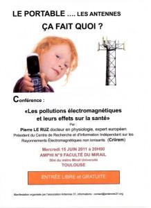 """Toulouse Conférence-débat """"Les pollutions électromagnétiques et leurs effets sur la santé"""""""