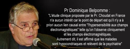 Opinion du Pr Dominique Belpomme de l'étude Française sur les EHS.