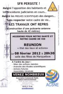 MARQUEFAVE (Haute-Garonne) SFR Persiste ! malgrés l'opposition des habitants et les procédures judiciaires en cours