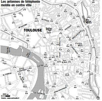 La carte des antennes relais en centre ville ()