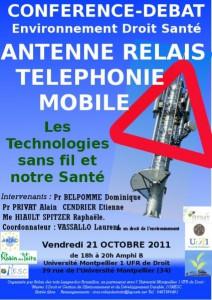 """Montpellier : ANTENNES RELAIS TELEPHONIE MOBILE """"Conférence-débat Environnement Droit Santé"""""""